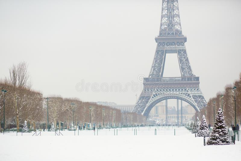 Snowy day in Paris, France royalty free stock photography