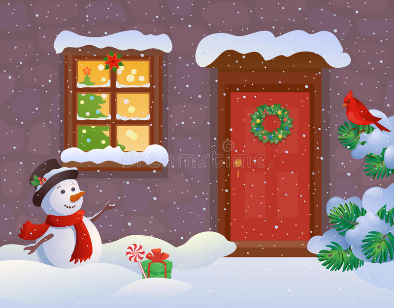 Snowy entrance. Illustration of a snowy house entrance and a greeting snowman stock illustration