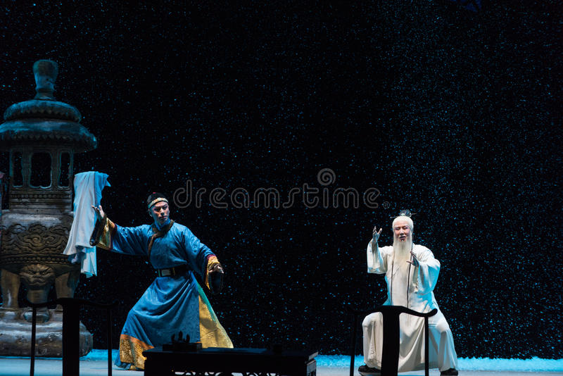 "On a snowy evening confrontation-Shanxi Operatic""Fu Shan to Beijing"". Fu Shan Beijing reflects the Fu Shan in Beijing, to be a true story of the royalty free stock images"