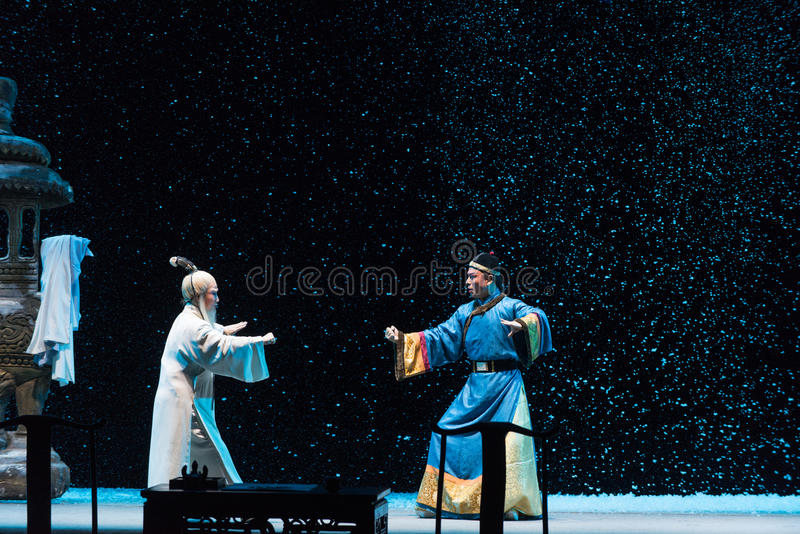 "On a snowy evening confrontation-Shanxi Operatic""Fu Shan to Beijing"". Fu Shan Beijing reflects the Fu Shan in Beijing, to be a true story of the royalty free stock photos"
