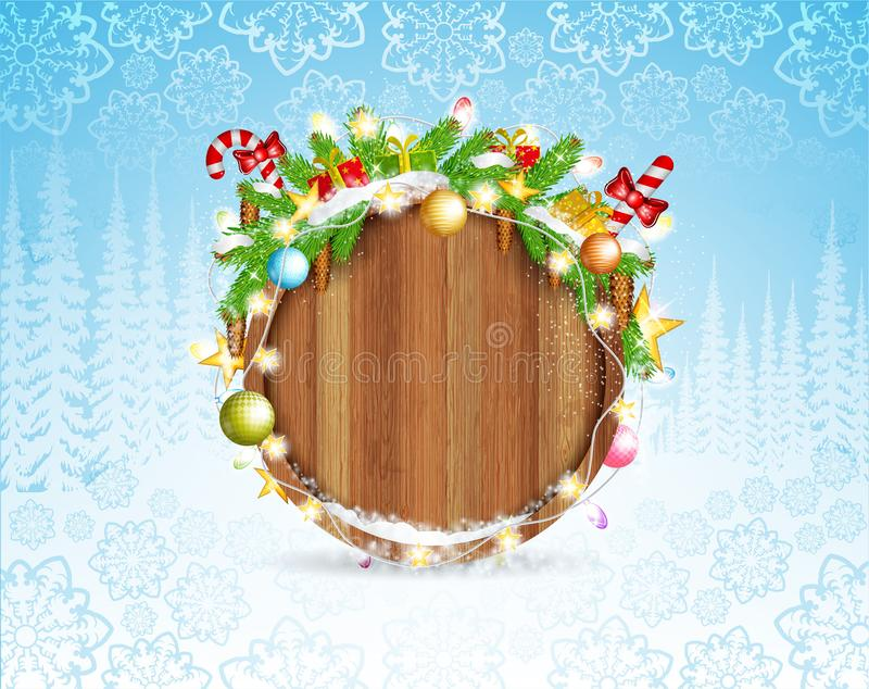 Snowy fir tree branch cones and presents on round wood border. Winter forest christmas horizontal background stock illustration