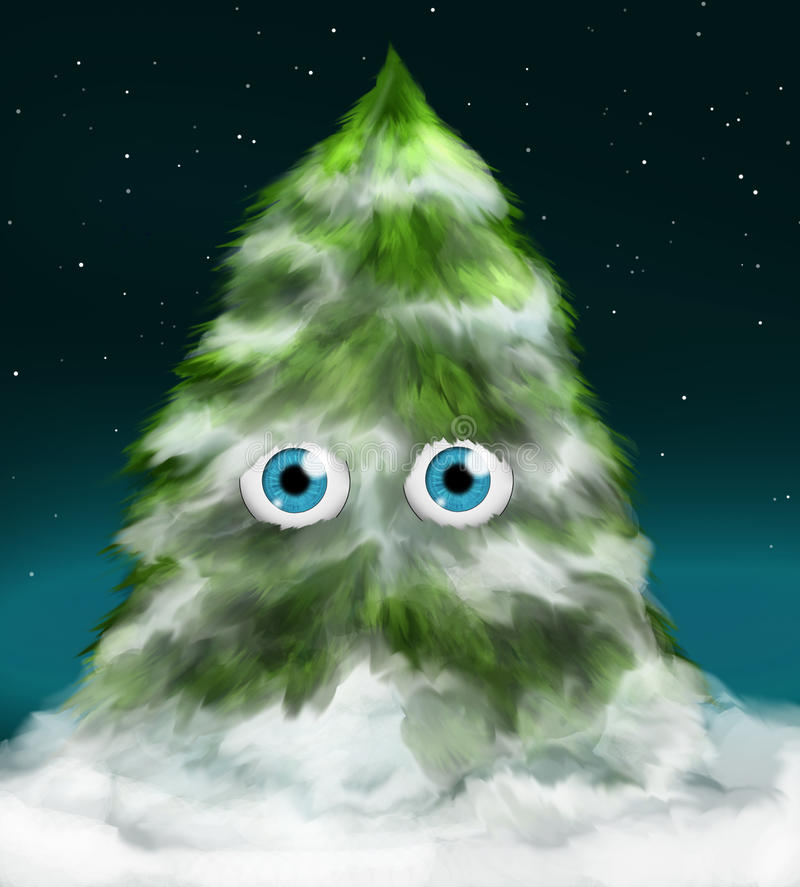Download Snowy fir tree with eyes stock illustration. Illustration of living - 11696695