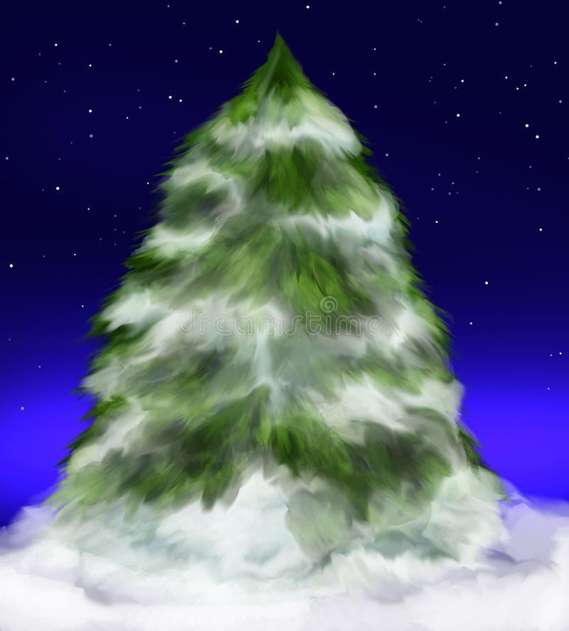 Snowy fir tree under stars stock illustration