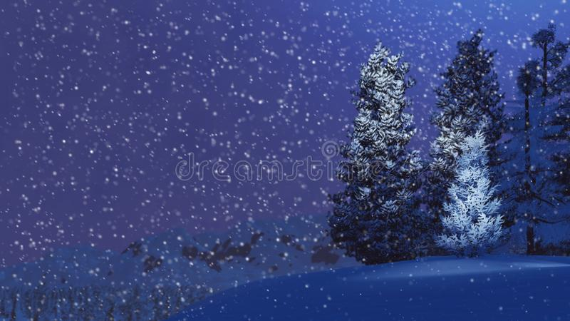 Snowy firs on mountain top at snowfall night stock illustration