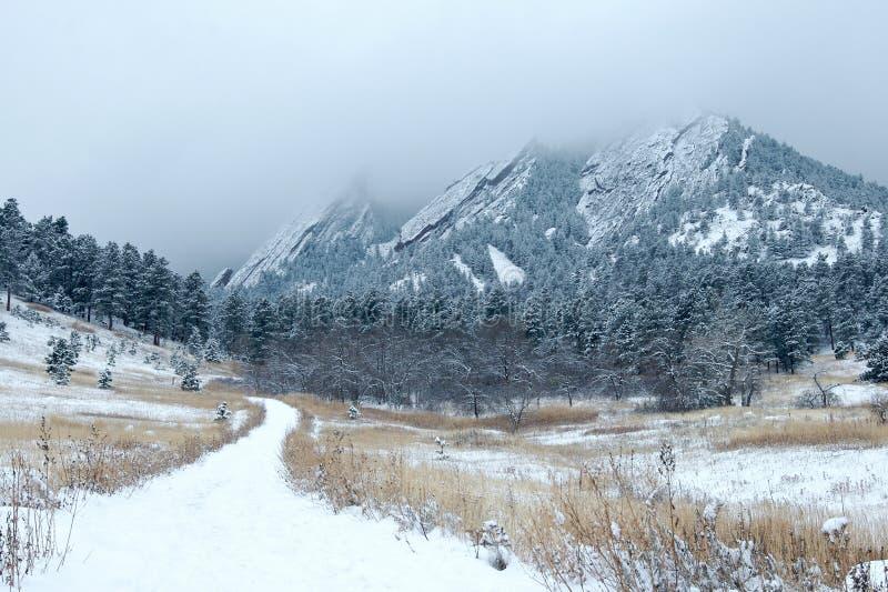 Snowy Flatiron Mountains stock photo