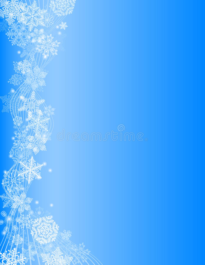 Snowy flow. Abstract blue Christmas Background with white Snowflake vector illustration