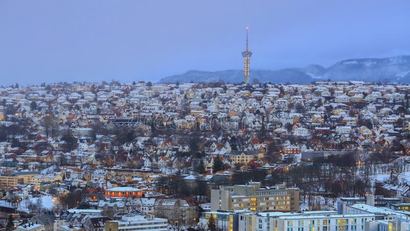 Snowy foggy Trondheim stock photography