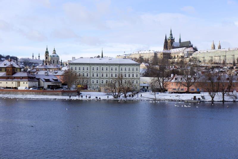 Download Snowy Freeze Prague Lesser Town With Gothic Castle Above River Vltava, Czech Republic Stock Photo - Image: 83717808