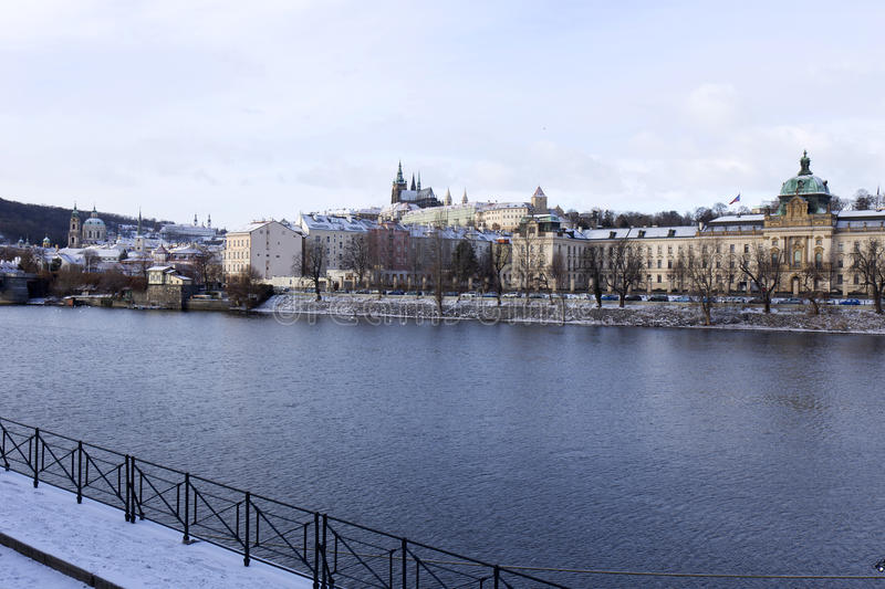 Download Snowy Freeze Prague Lesser Town With Gothic Castle Above River Vltava, Czech Republic Stock Image - Image: 83700669