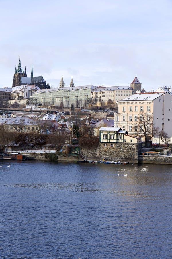 Download Snowy Freeze Prague Lesser Town With Gothic Castle Above River Vltava, Czech Republic Stock Image - Image: 83700985
