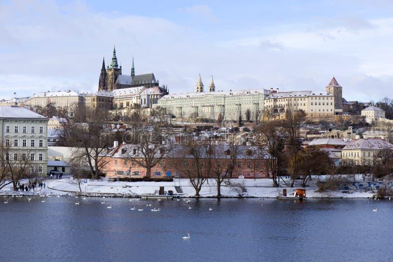 Download Snowy Freeze Prague Lesser Town With Gothic Castle Above River Vltava, Czech Republic Stock Image - Image: 83701059