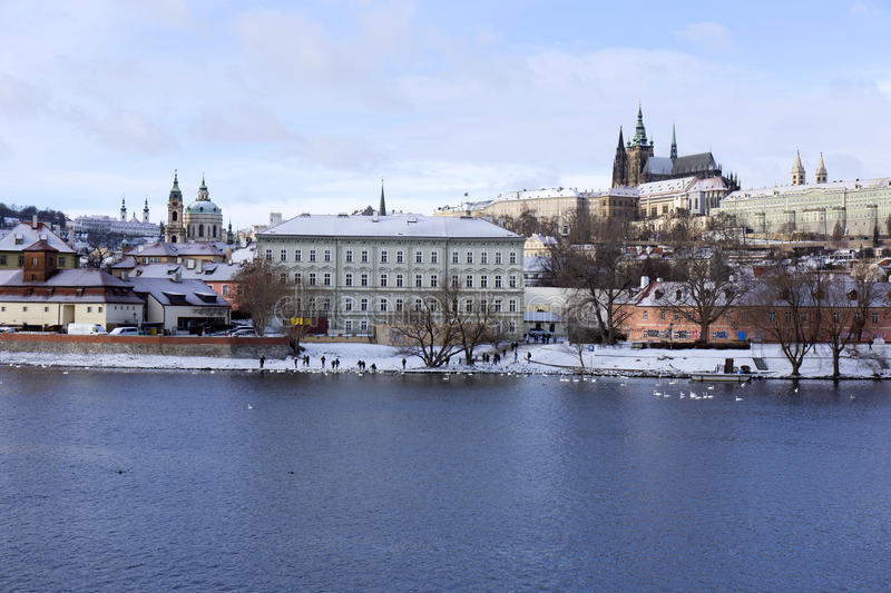 Download Snowy Freeze Prague Lesser Town With Gothic Castle Above River Vltava, Czech Republic Stock Photo - Image: 83701078