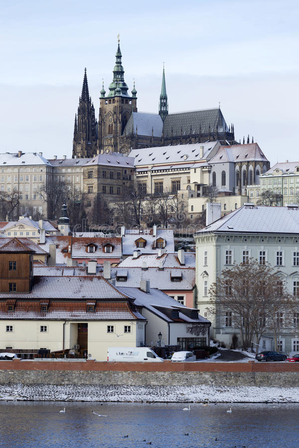 Download Snowy Freeze Prague Lesser Town With Gothic Castle Above River Vltava, Czech Republic Stock Photo - Image: 83701734