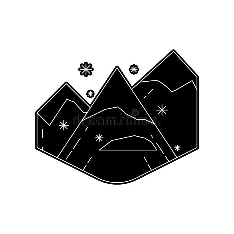 Snowy-Gebirgsikone Element des Winters f?r bewegliches Konzept und Netz Appsikone Glyph, flache Ikone f?r Websiteentwurf und vektor abbildung