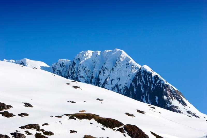 Snowy-Gebirgsspitzen lizenzfreie stockfotos