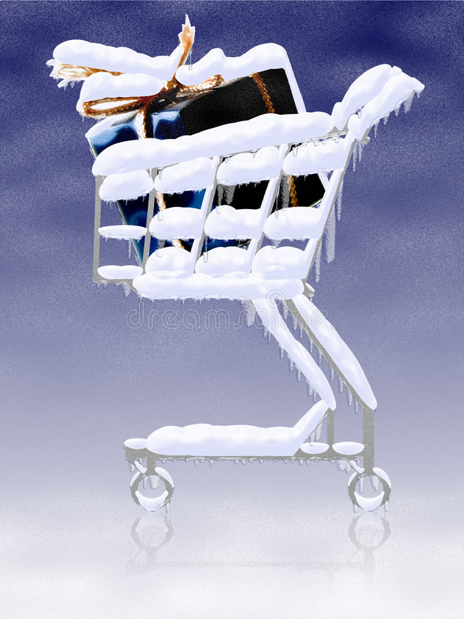 Snowy gifts in the shopping cart stock illustration