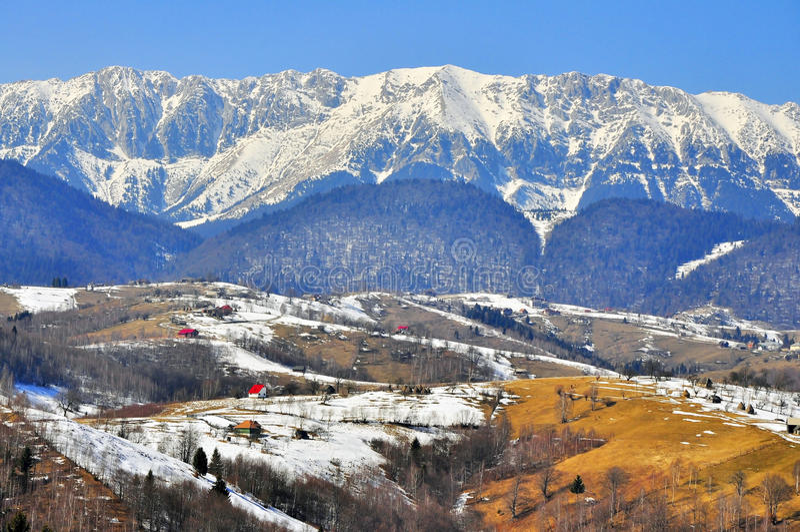 Snowy high altitude landscape stock photo