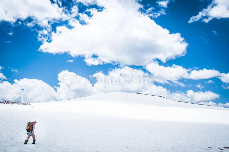 Snowy Hiking stock photo