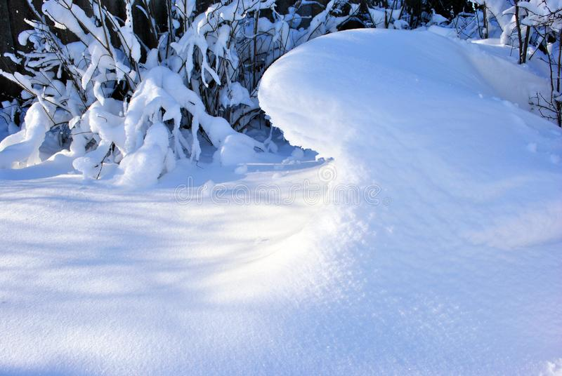 Snowy hill in the form of a wave behind branches under white fluffy snow stock photo