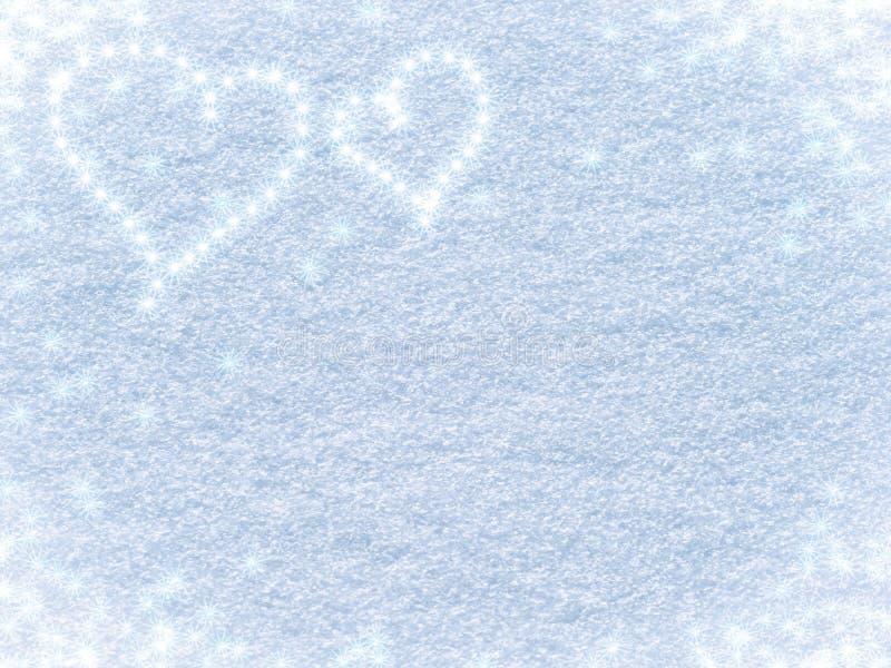 Snowy-Hintergrund mit Herzen für Valentinstag stockfoto