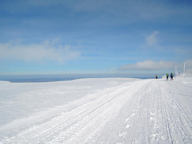 Snowy-Hochland KrkonoÅ-¡ e Berge lizenzfreie stockbilder
