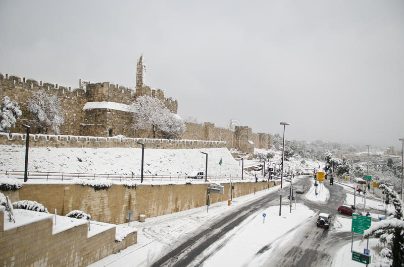 Snowy Jerusalem walls royalty free stock photos
