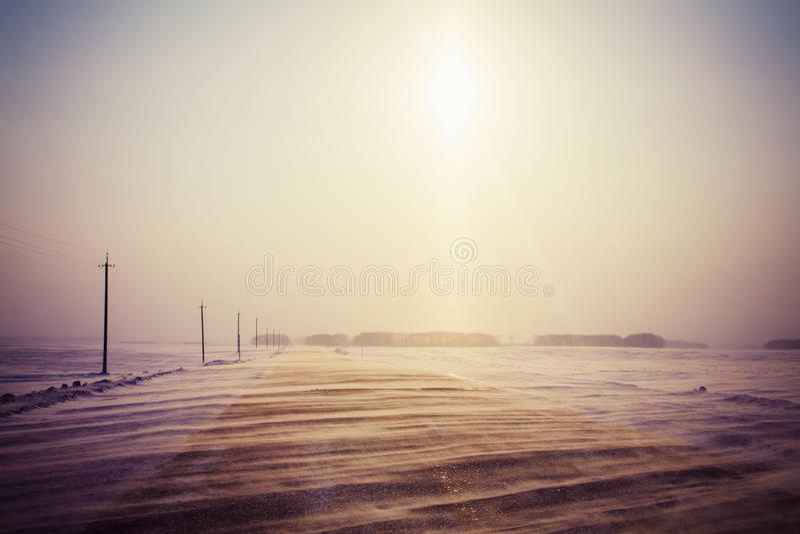Snowy Land Road royalty free stock photos