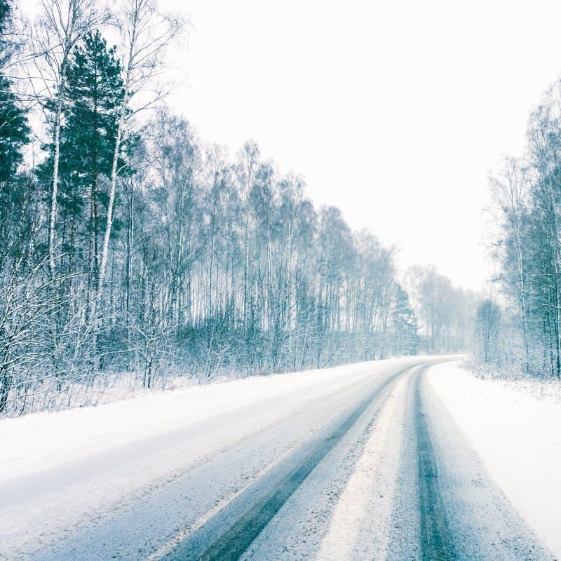 Snowy Land Road royalty free stock photo