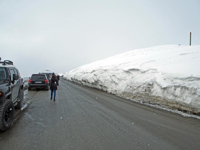 Snowy landscape along the Georgian military road in the spring stock image
