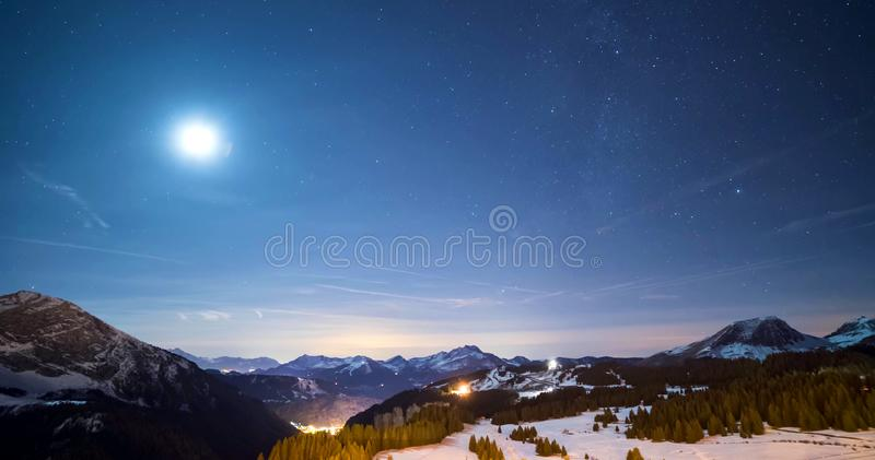 Snowy landscape of Avoriaz ski resort in France on a sunny day royalty free stock photo
