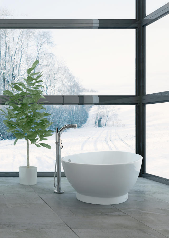 Snowy landscape behind windows of bathroom stock illustration