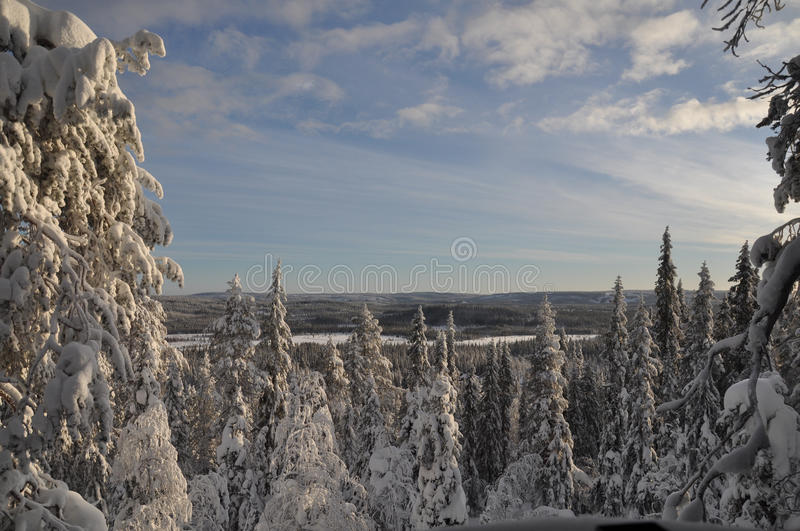 Snowy landscape on clear day stock photos