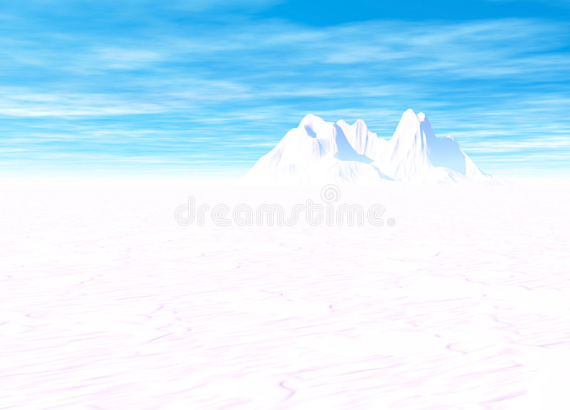 Snowy Landscape with Mountain in Far Distance. On Horizon royalty free illustration