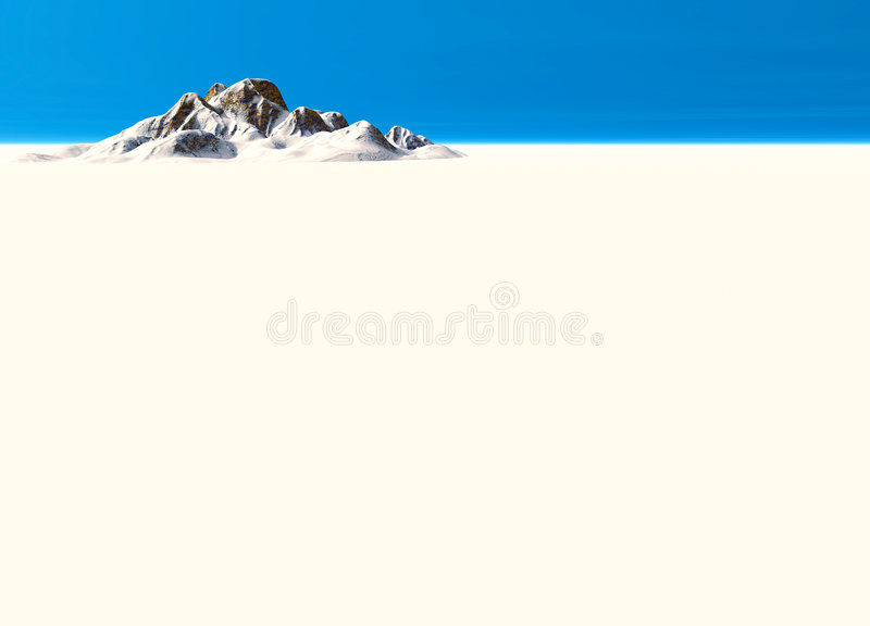 Snowy Landscape With Mountain In Far Distance Stock Photography