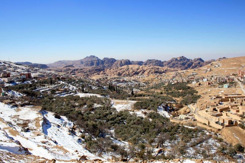 Snowy landscape at Petra, Jordan stock image