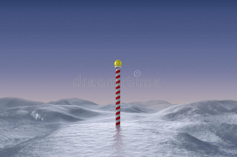 Snowy landscape with pole vector illustration