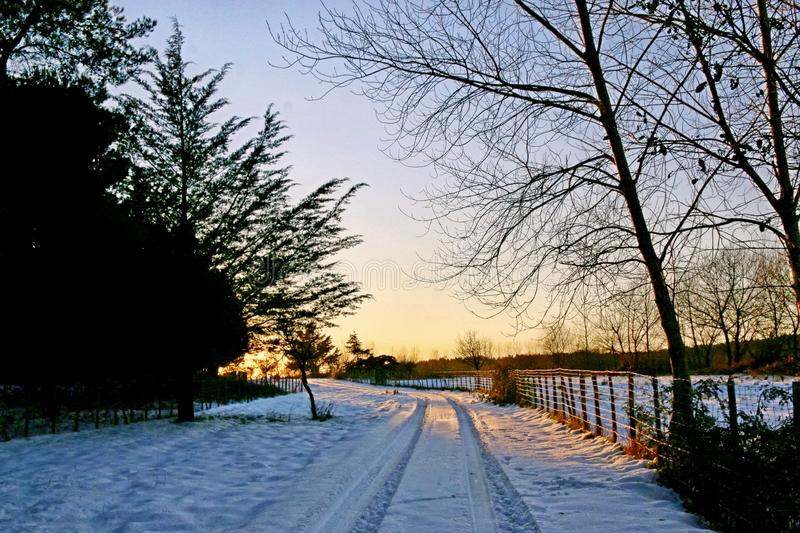 Snowy landscape in Sicily royalty free stock photography