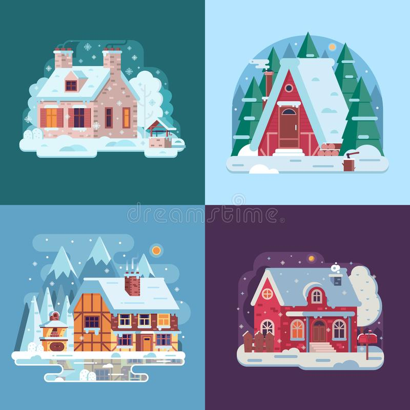 Rural Winter Houses and Cabins Landscapes stock illustration