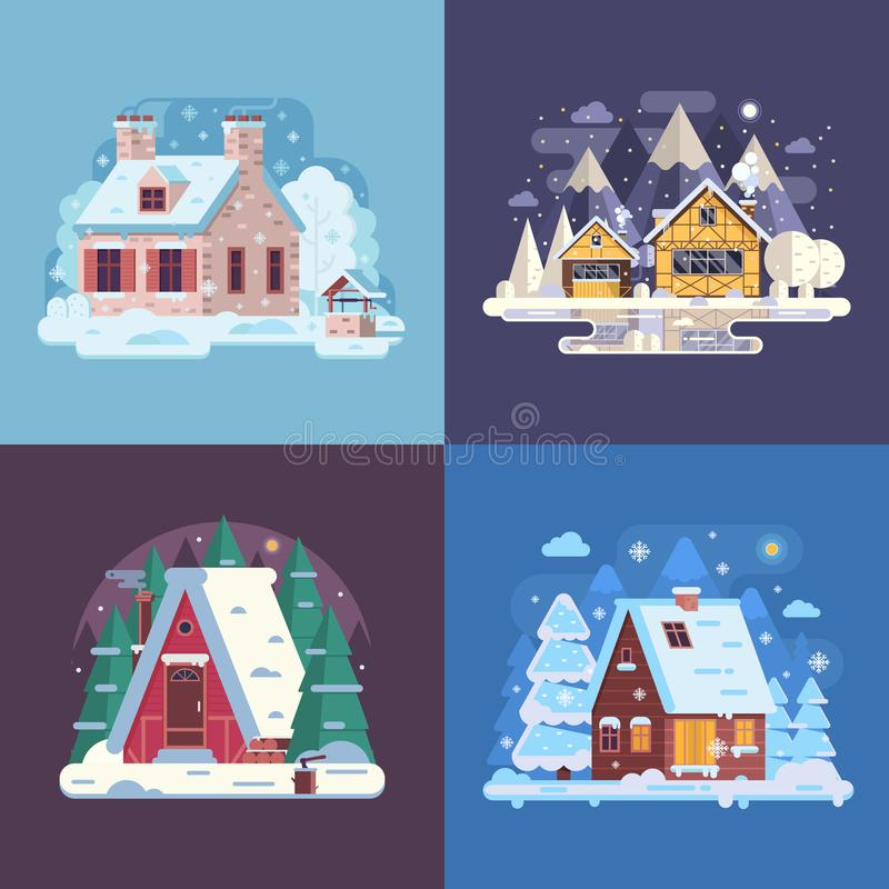 Rural Winter Houses and Cabins Landscapes vector illustration
