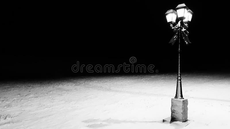 Snowy-Laternenpfahl stockbild