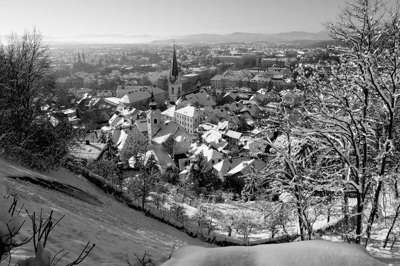 Snowy Ljubljana in black & white royalty free stock photo