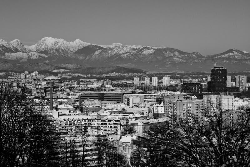 Snowy Ljubljana in black & white stock photography