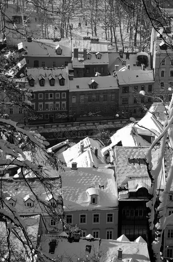 Snowy Ljubljana in black & white royalty free stock images
