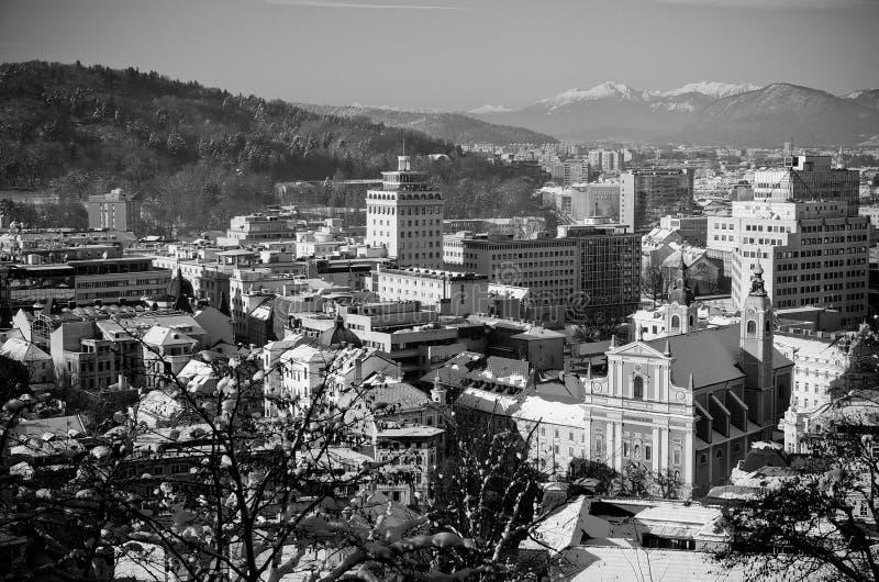 Snowy Ljubljana in black & white royalty free stock image