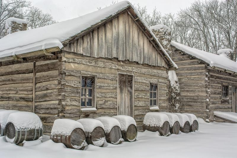 Snowy Log Cabin stock image
