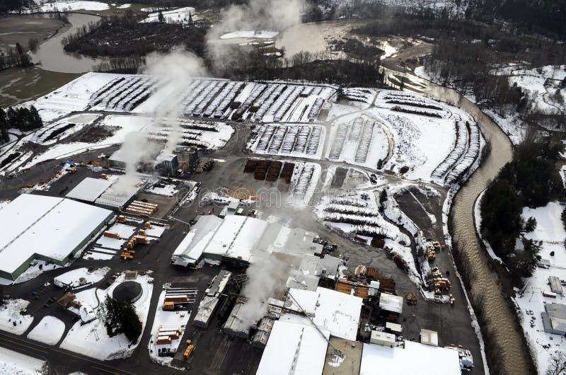 Snowy Lumber Yard Royalty Free Stock Photos