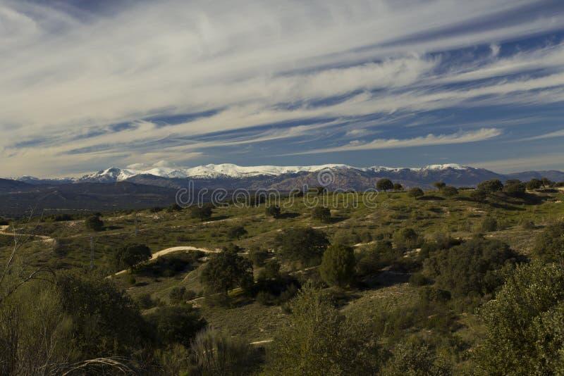 Snowy Madrid Mountain Range stock photography