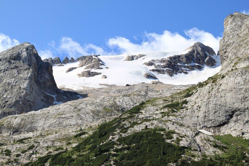 Snowy Marmolada Glacier in the Italian Dolomites stock images
