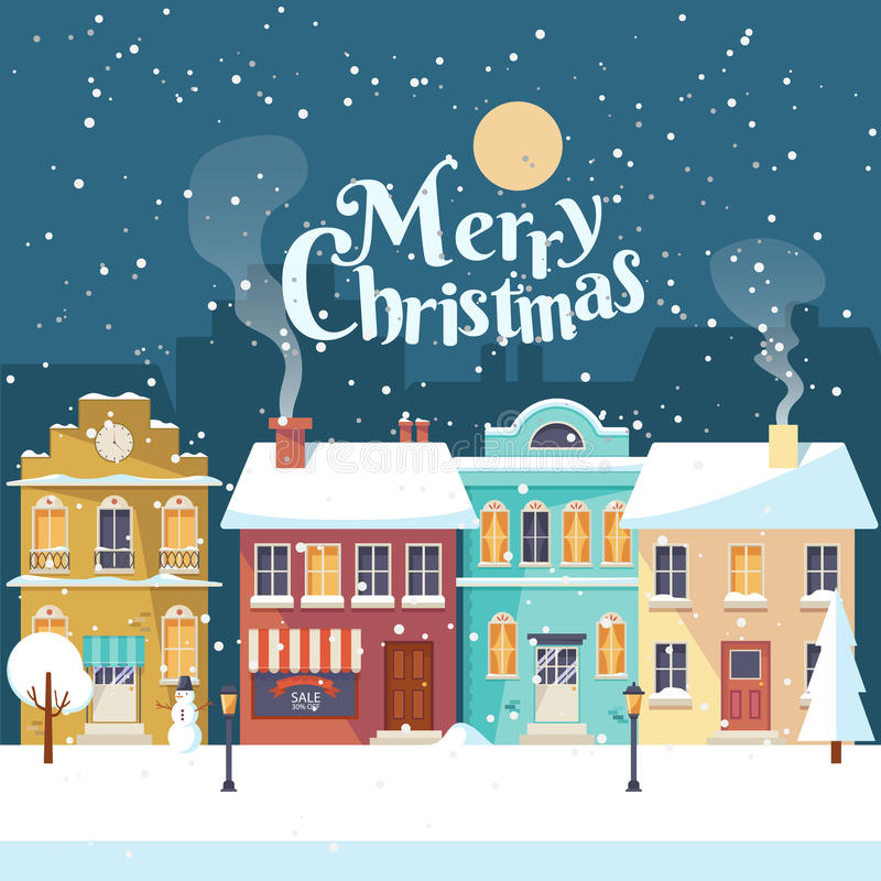 Snowy Merry Christmas night in the cozy town greeting card vector illustration