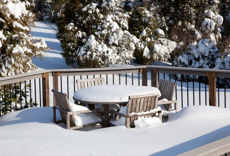 Snowy modern deck stock photography